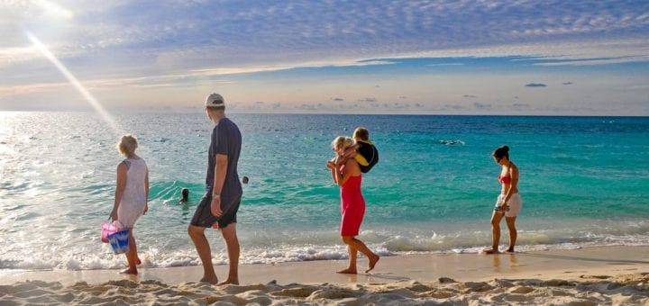 Family Walking on a Beach in Hawaii